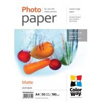CARTA FOTOGRAFICA A4 COLORWAY MATTE 190G 50FOGLI