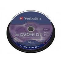VERBATIM DVD+DL 8X BRANDED 10 TUB