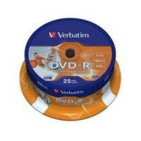 VERBATIM DVD-R 16X PRINTABLE 25 TUB 200 BOX